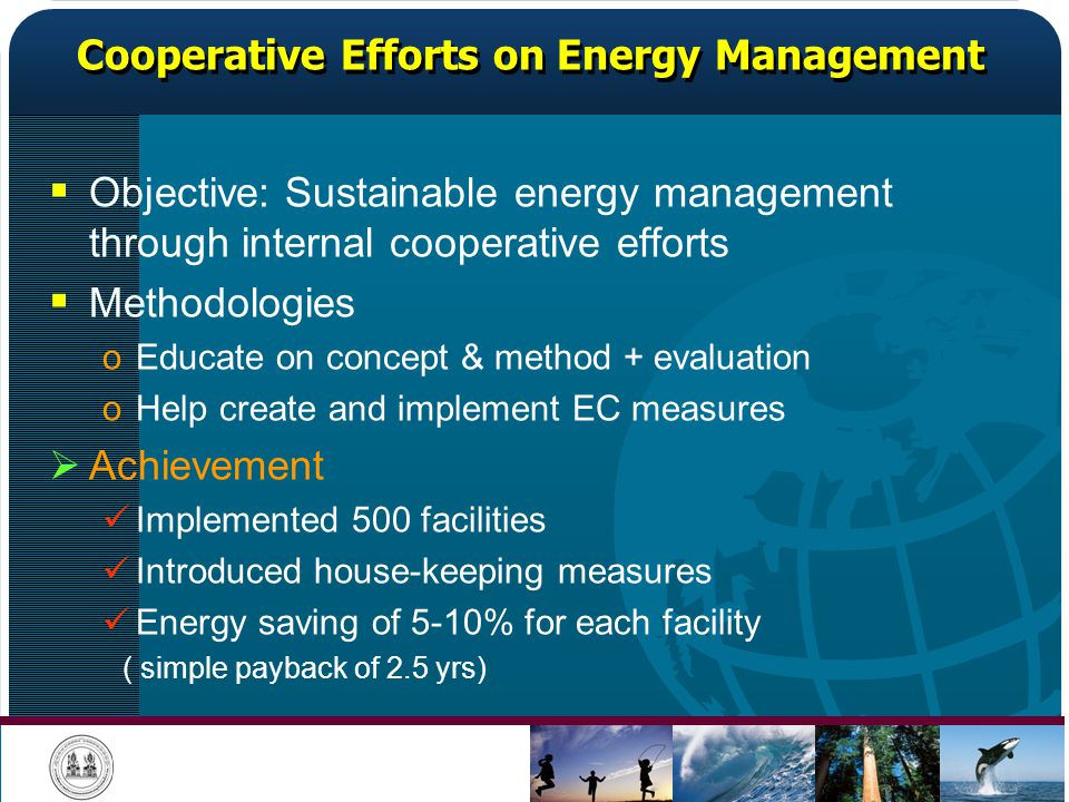 Cooperative Efforts on Energy Management