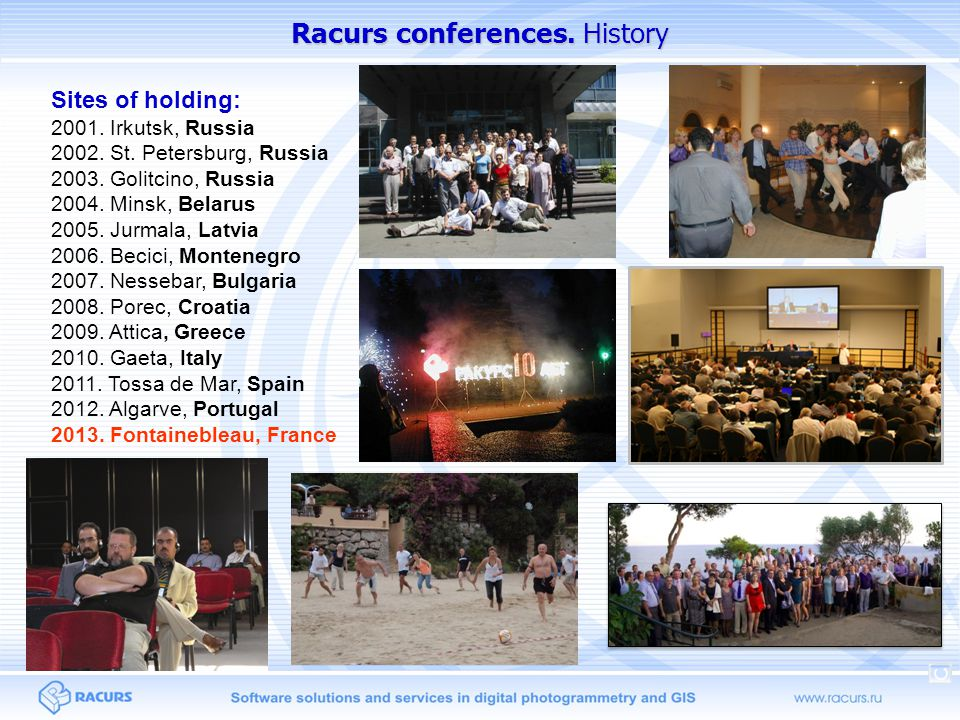 Racurs conferences. History