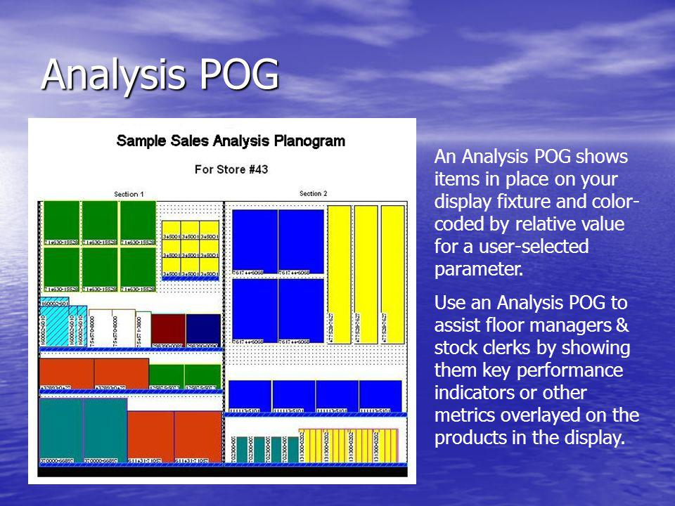 Analysis POG An Analysis POG shows items in place on your display fixture and color-coded by relative value for a user-selected parameter.