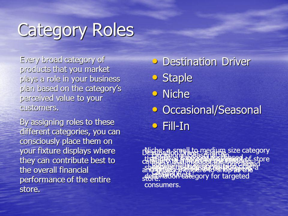 Category Roles Destination Driver Staple Niche Occasional/Seasonal