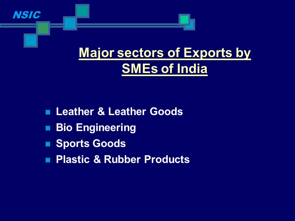 Major sectors of Exports by SMEs of India