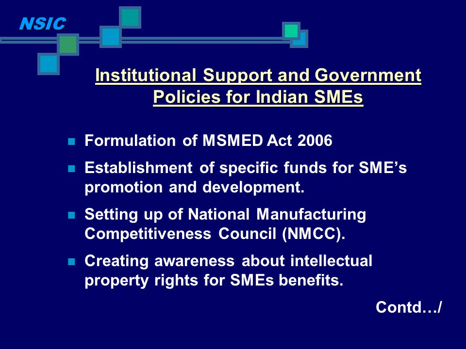 Institutional Support and Government Policies for Indian SMEs