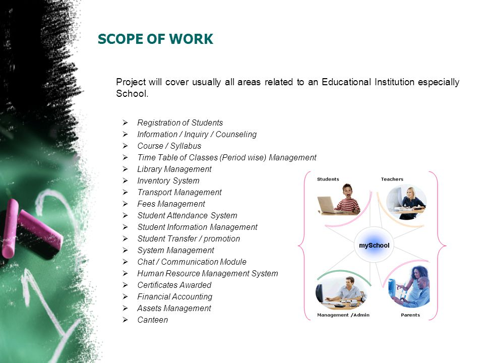 SCOPE OF WORK Project will cover usually all areas related to an Educational Institution especially School.
