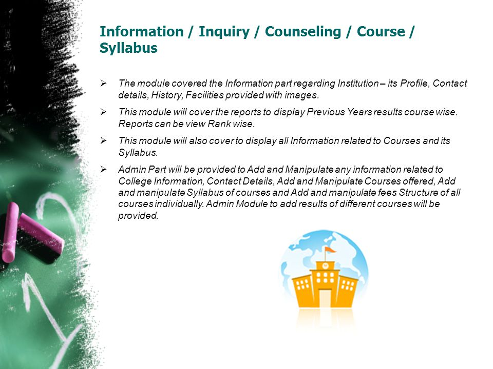 Information / Inquiry / Counseling / Course / Syllabus