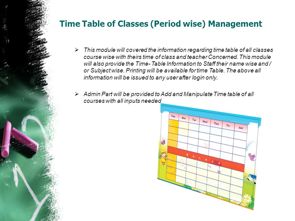 Time Table of Classes (Period wise) Management