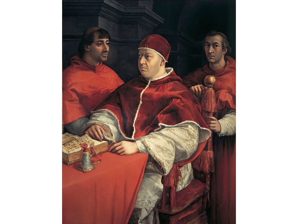 Raphael, Pope Leo X with Cardinals, 1517, Florence