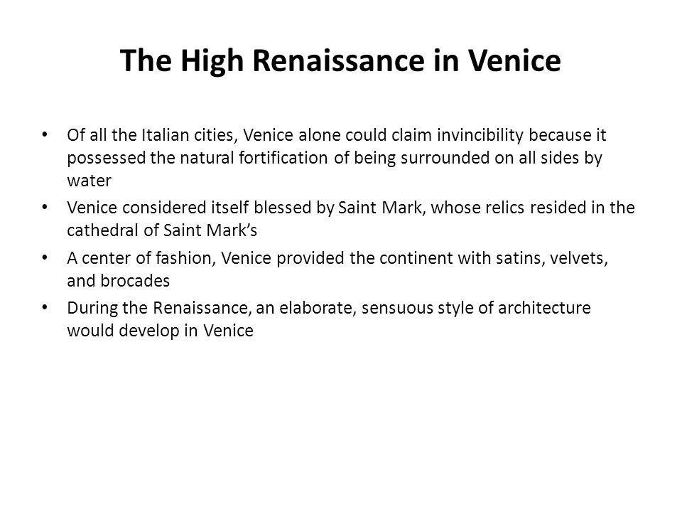 The High Renaissance in Venice