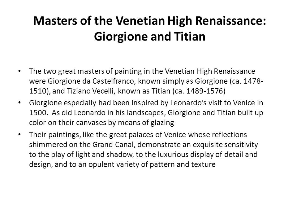 Masters of the Venetian High Renaissance: Giorgione and Titian