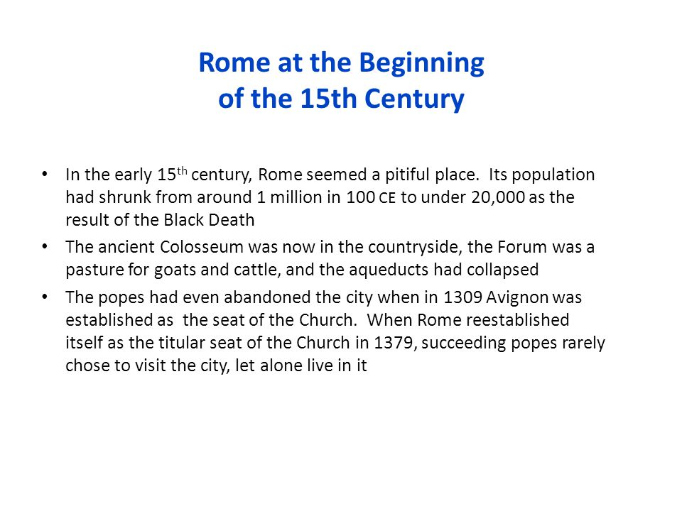 Rome at the Beginning of the 15th Century