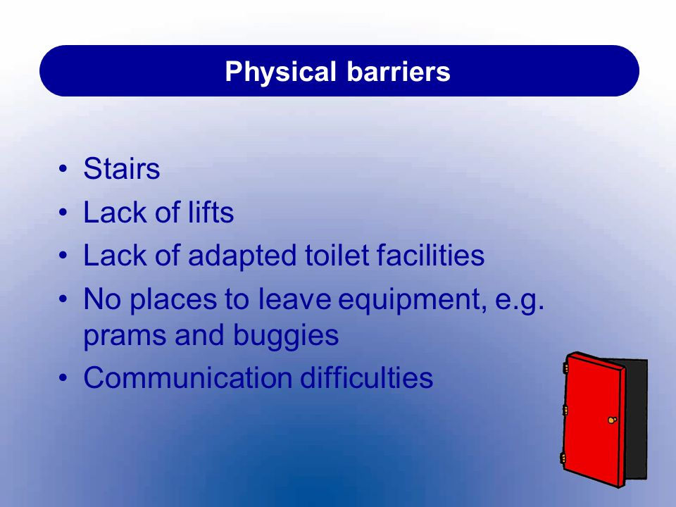 Lack of adapted toilet facilities