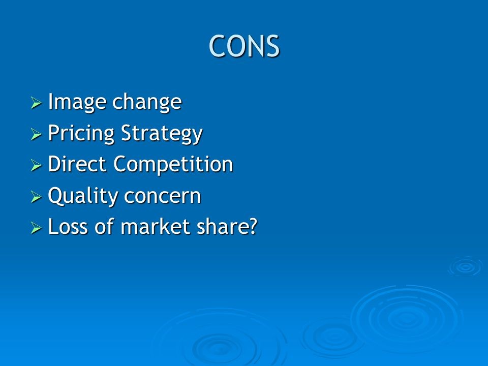 CONS Image change Pricing Strategy Direct Competition Quality concern