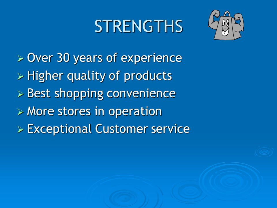 STRENGTHS Over 30 years of experience Higher quality of products
