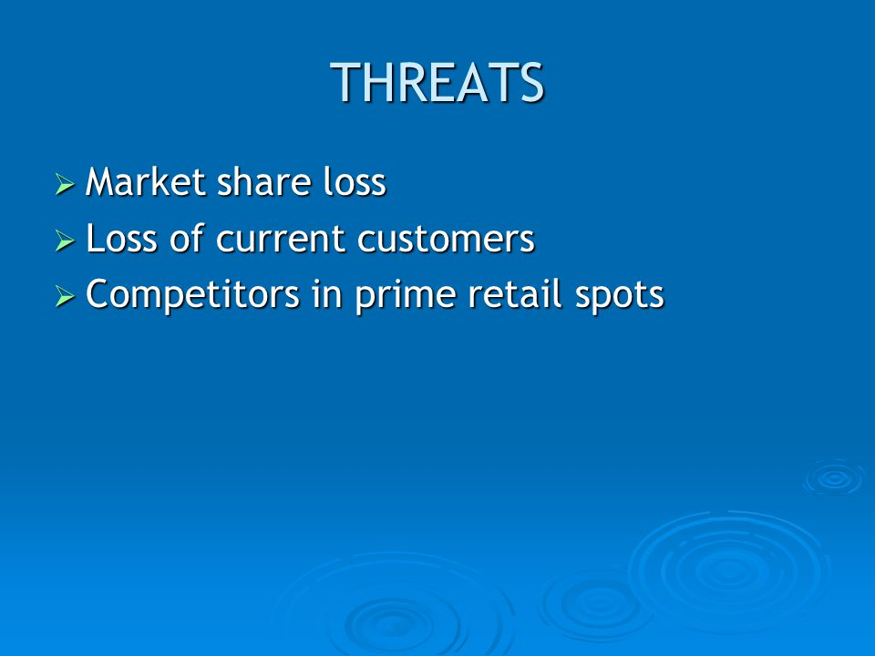 THREATS Market share loss Loss of current customers