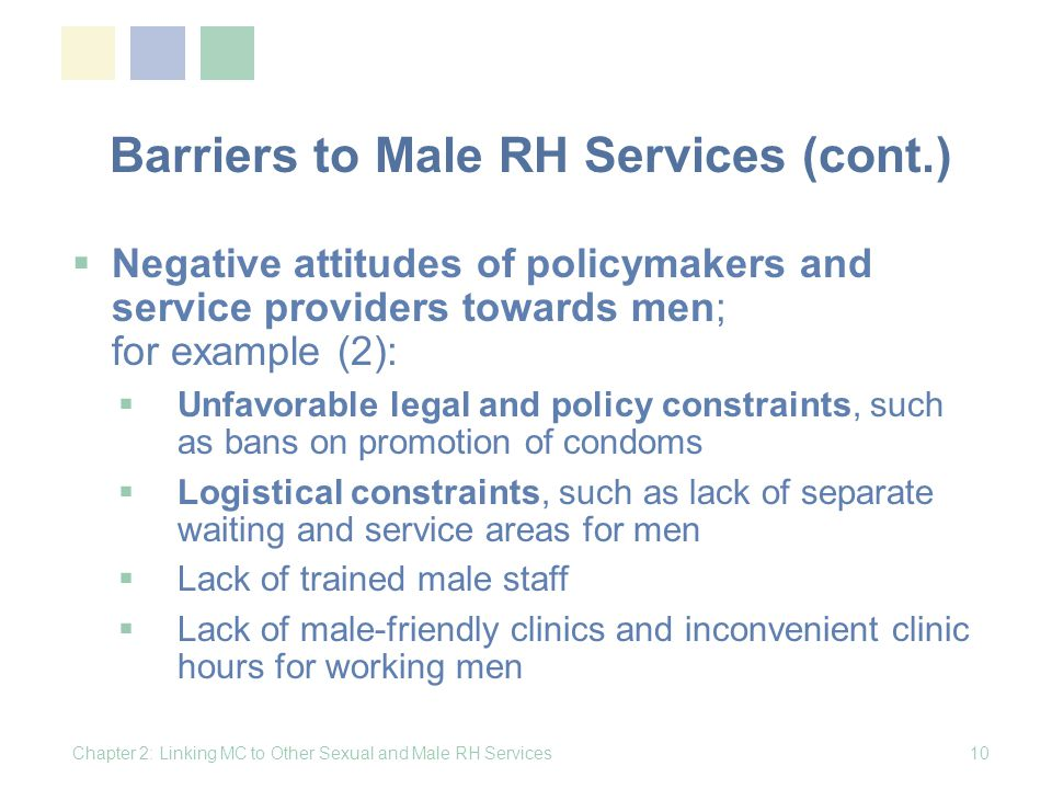 Barriers to Male RH Services (cont.)