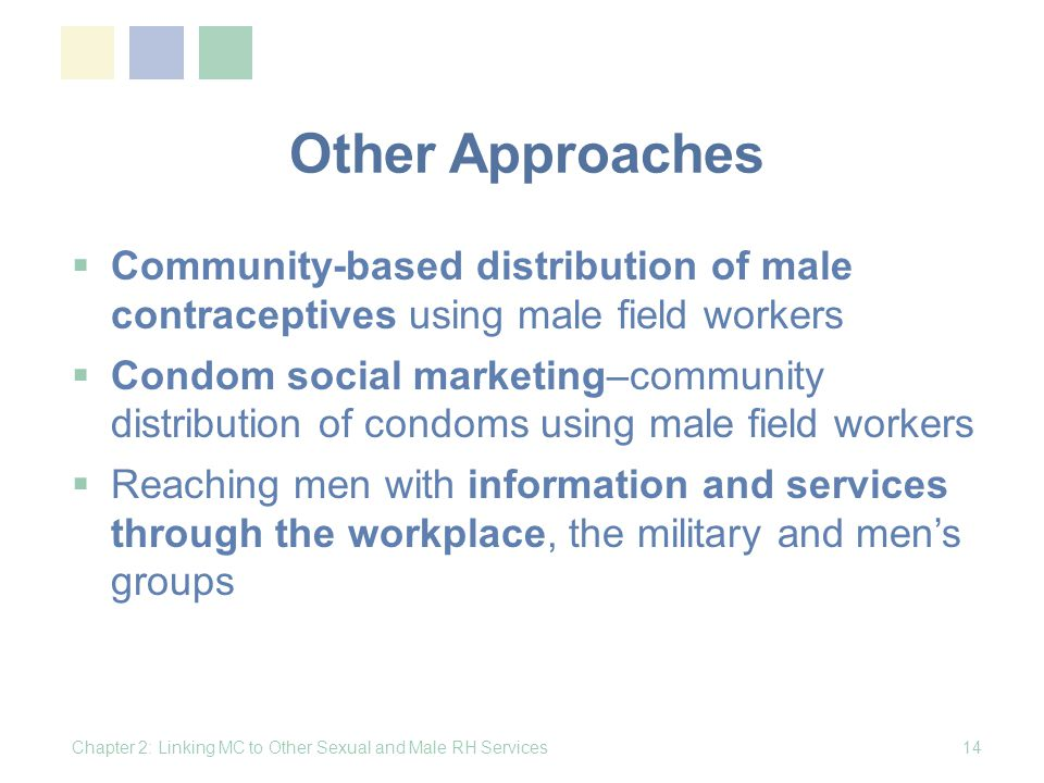 Other Approaches Community-based distribution of male contraceptives using male field workers.