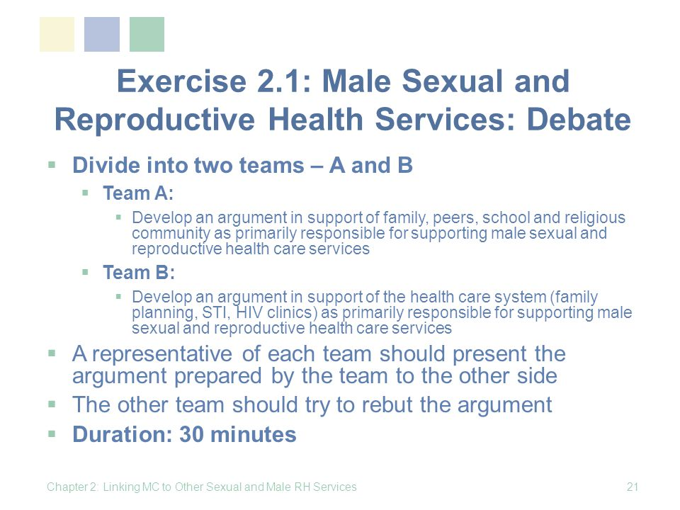 Exercise 2.1: Male Sexual and Reproductive Health Services: Debate