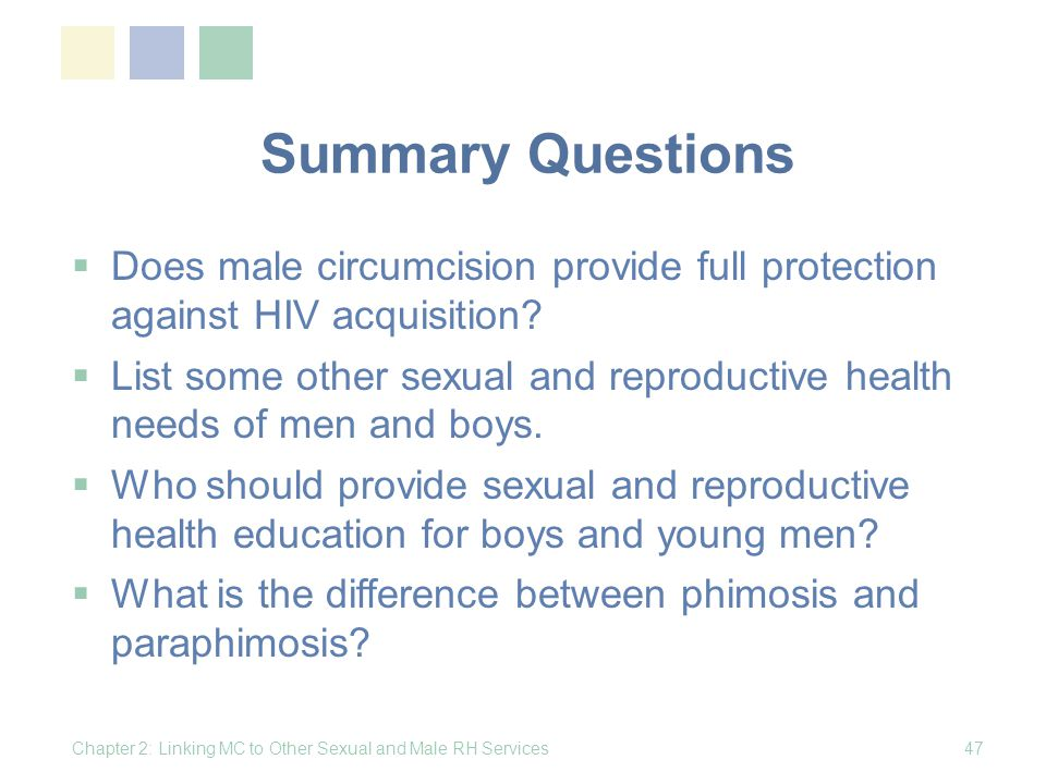 Summary Questions Does male circumcision provide full protection against HIV acquisition