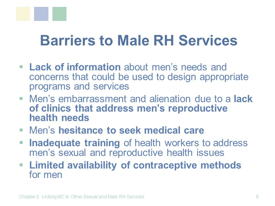 Barriers to Male RH Services