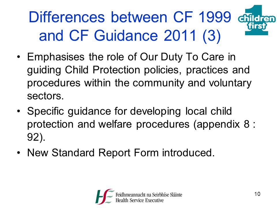 Differences between CF 1999 and CF Guidance 2011 (3)