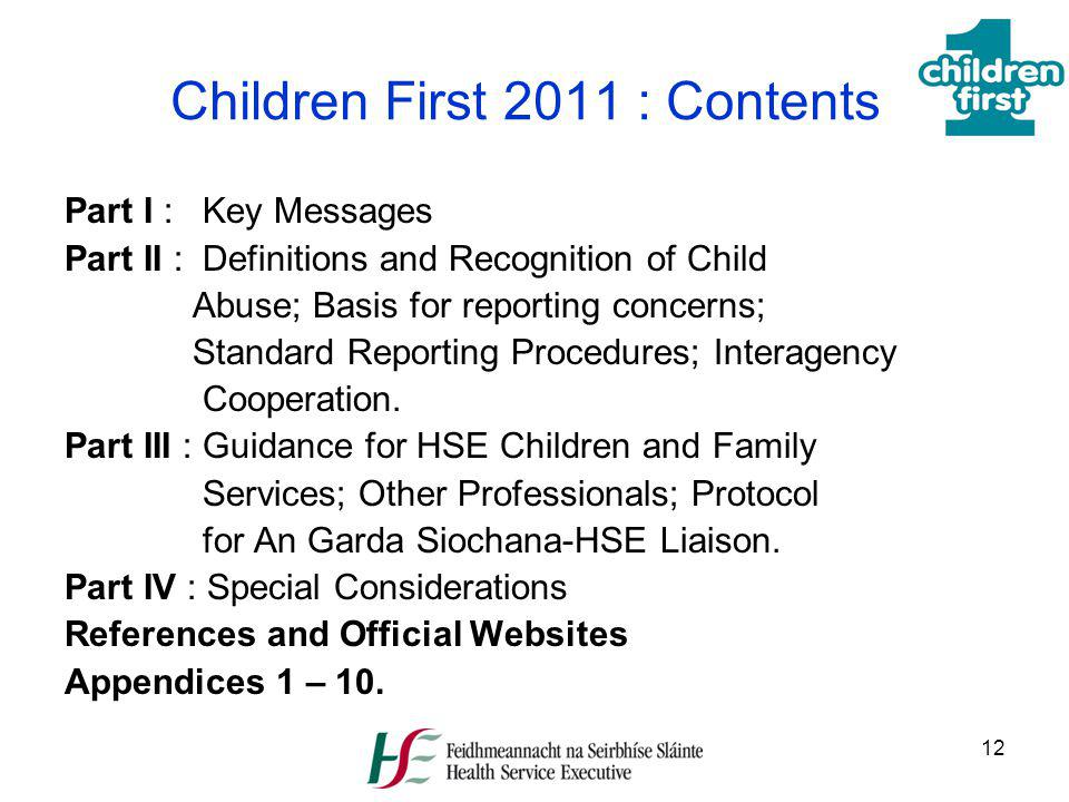 Children First 2011 : Contents