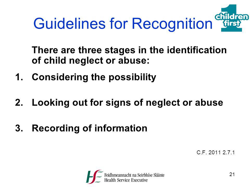 Guidelines for Recognition