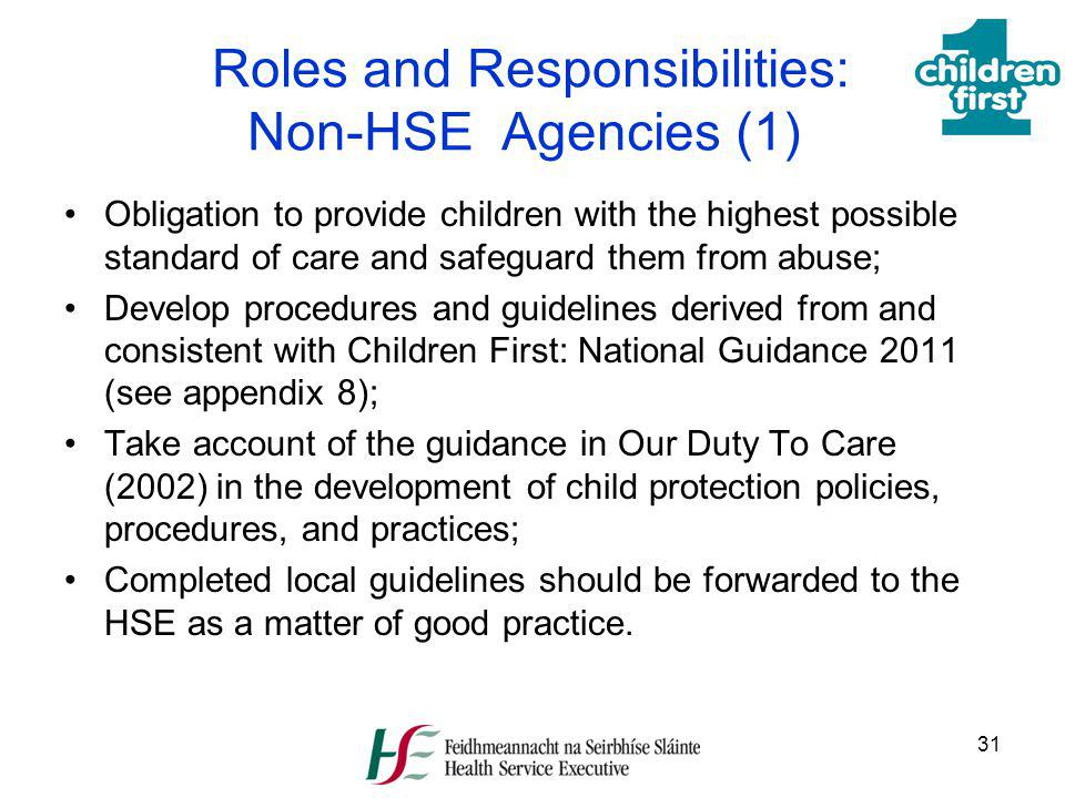Roles and Responsibilities: Non-HSE Agencies (1)