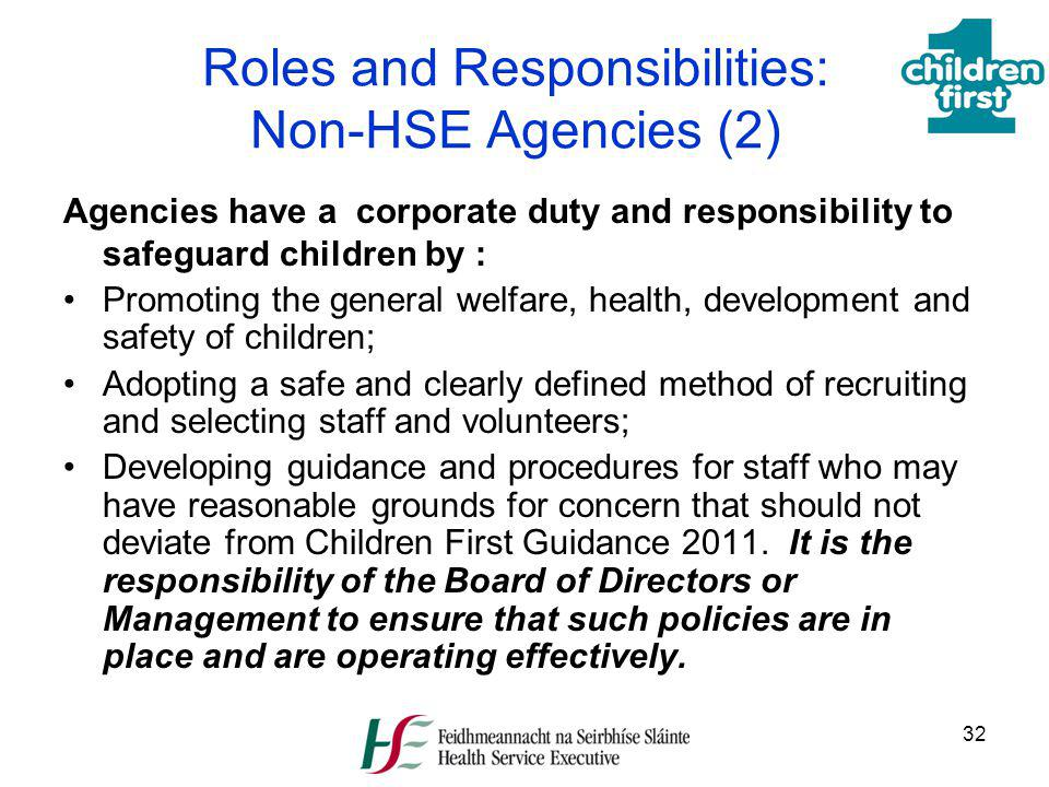 Roles and Responsibilities: Non-HSE Agencies (2)