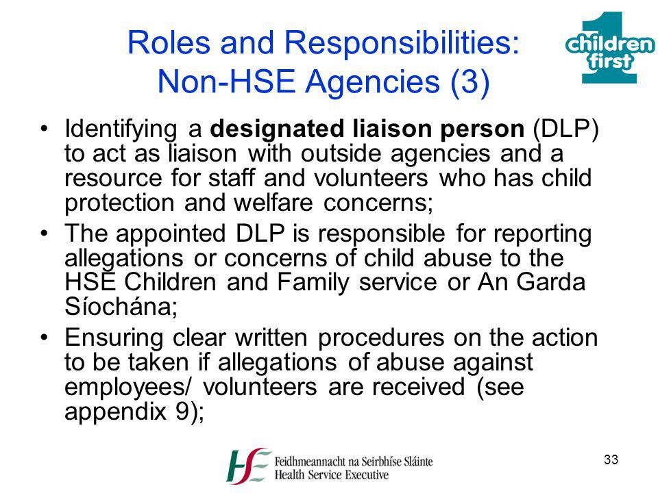 Roles and Responsibilities: Non-HSE Agencies (3)