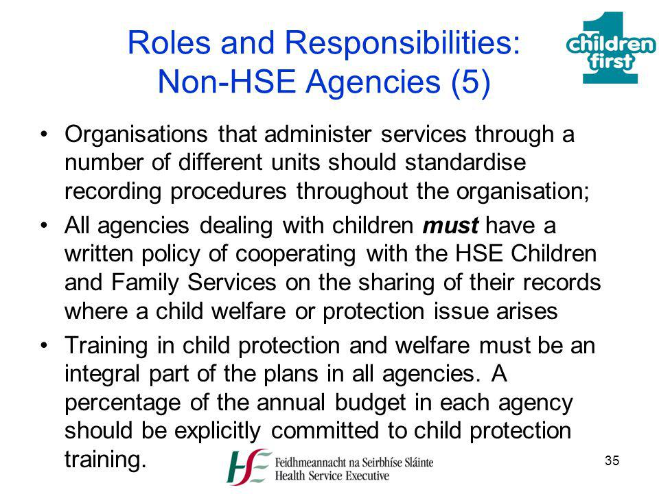 Roles and Responsibilities: Non-HSE Agencies (5)