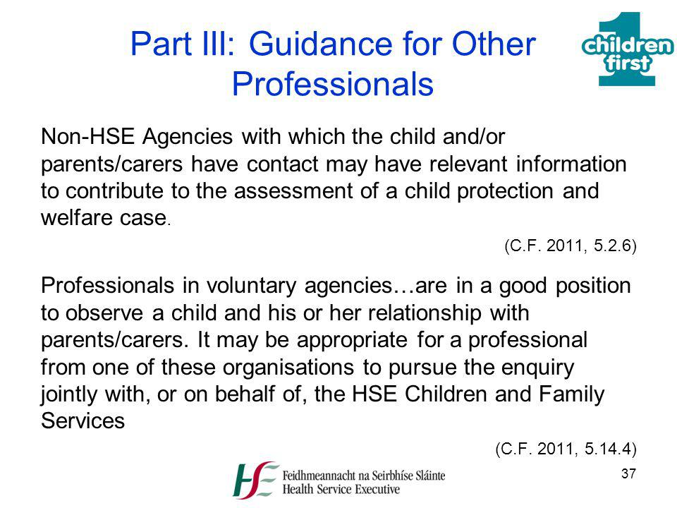 Part III: Guidance for Other Professionals