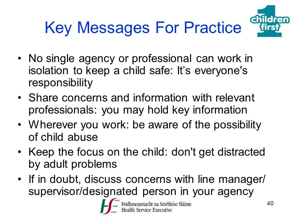 Key Messages For Practice