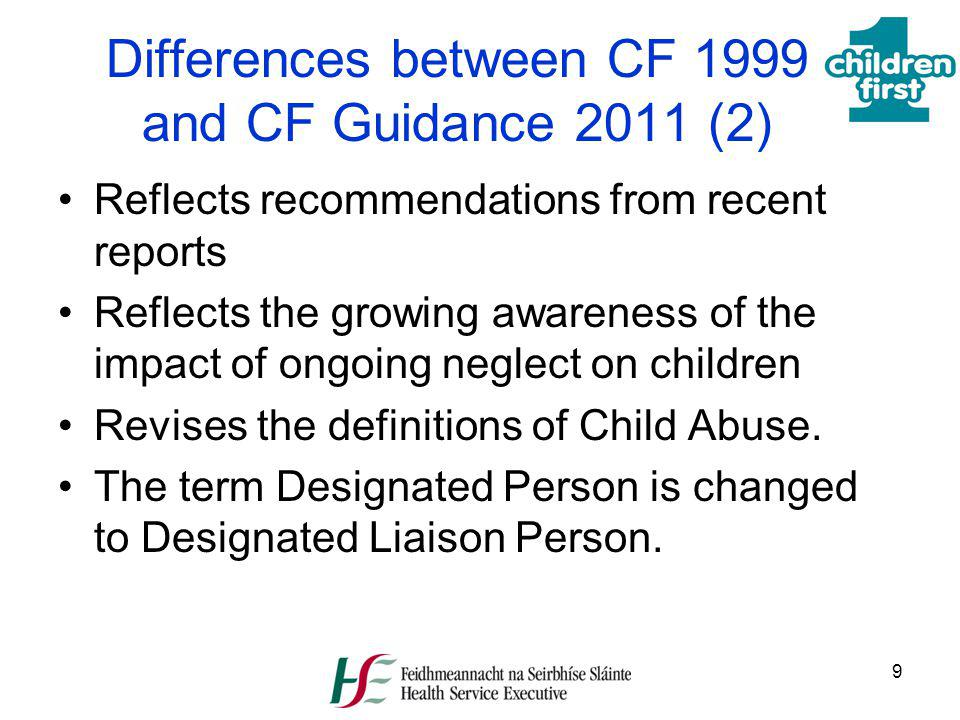 Differences between CF 1999 and CF Guidance 2011 (2)