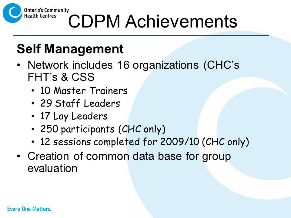 CDPM Achievements Self Management