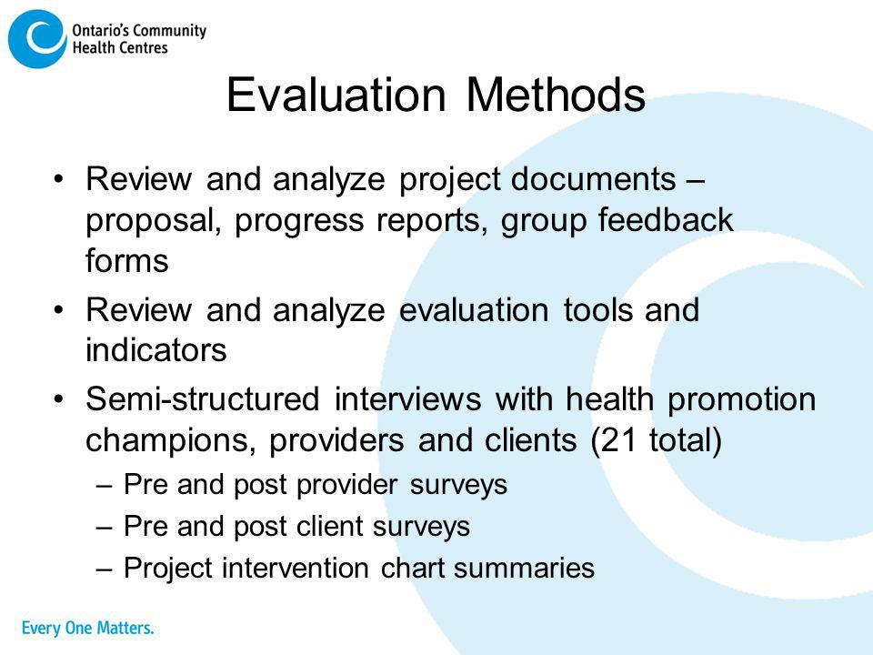 Evaluation Methods Review and analyze project documents – proposal, progress reports, group feedback forms.