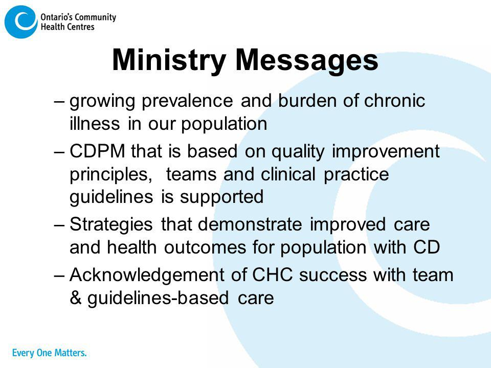 Ministry Messages growing prevalence and burden of chronic illness in our population.