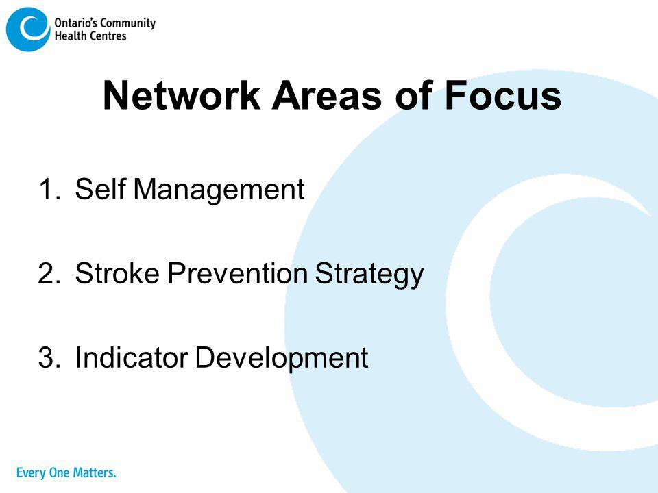 Network Areas of Focus Self Management Stroke Prevention Strategy