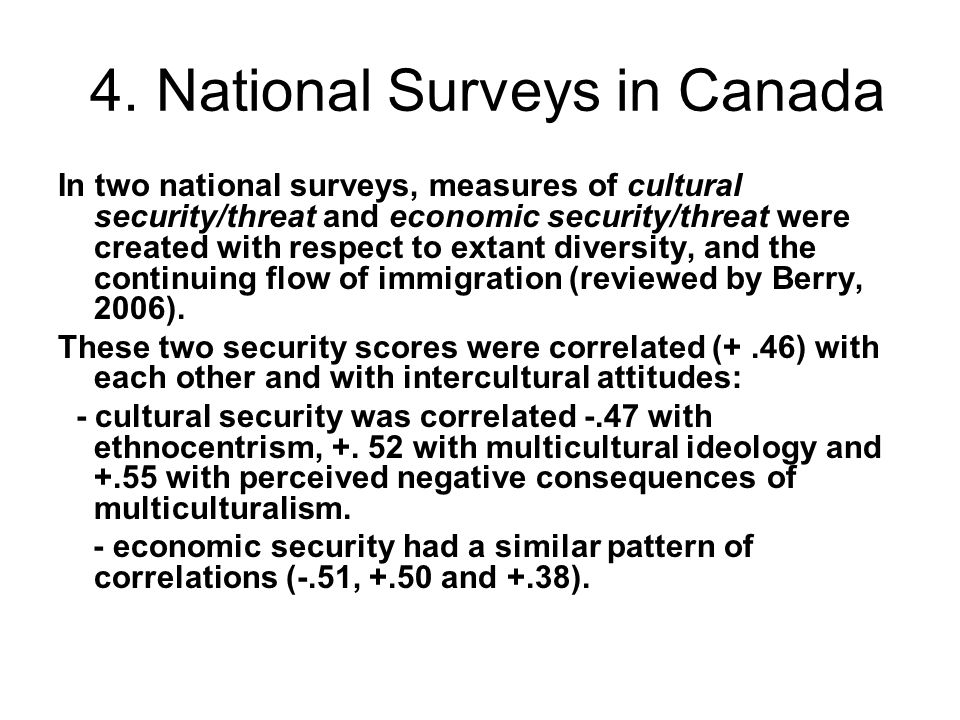 4. National Surveys in Canada