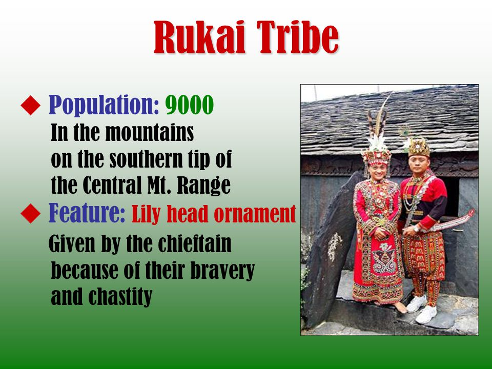Rukai Tribe Population: 9000 Feature: Lily head ornament