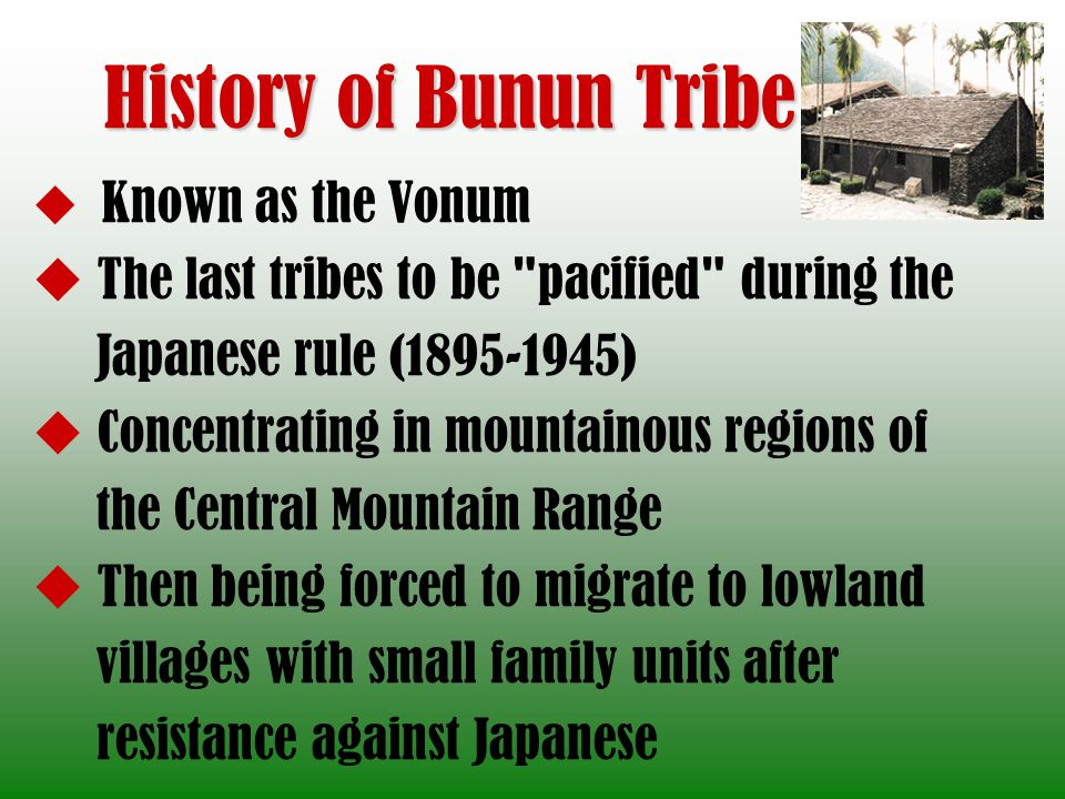 History of Bunun Tribe The last tribes to be pacified during the