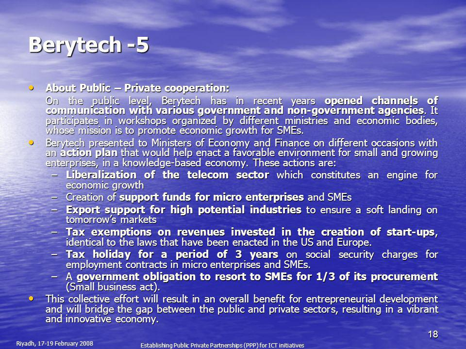 Berytech -5 About Public – Private cooperation: