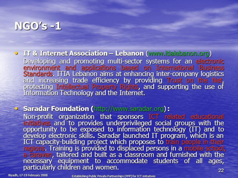 NGO's -1 IT & Internet Association – Lebanon (www.itialebanon.org)