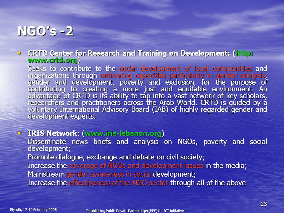 NGO's -2 CRTD Center for Research and Training on Development: (http: www.crtd.org)