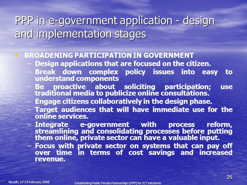 PPP in e-government application - design and implementation stages