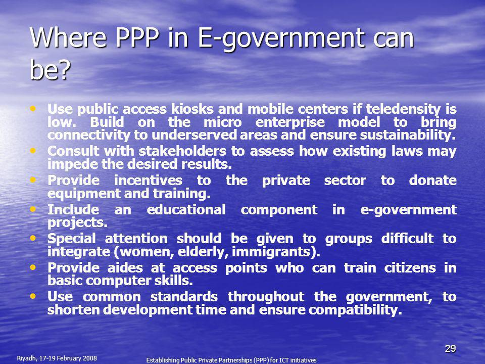 Where PPP in E-government can be