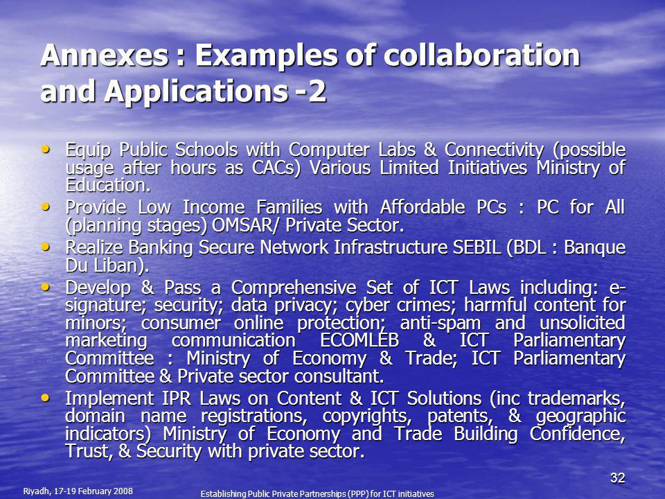 Annexes : Examples of collaboration and Applications -2