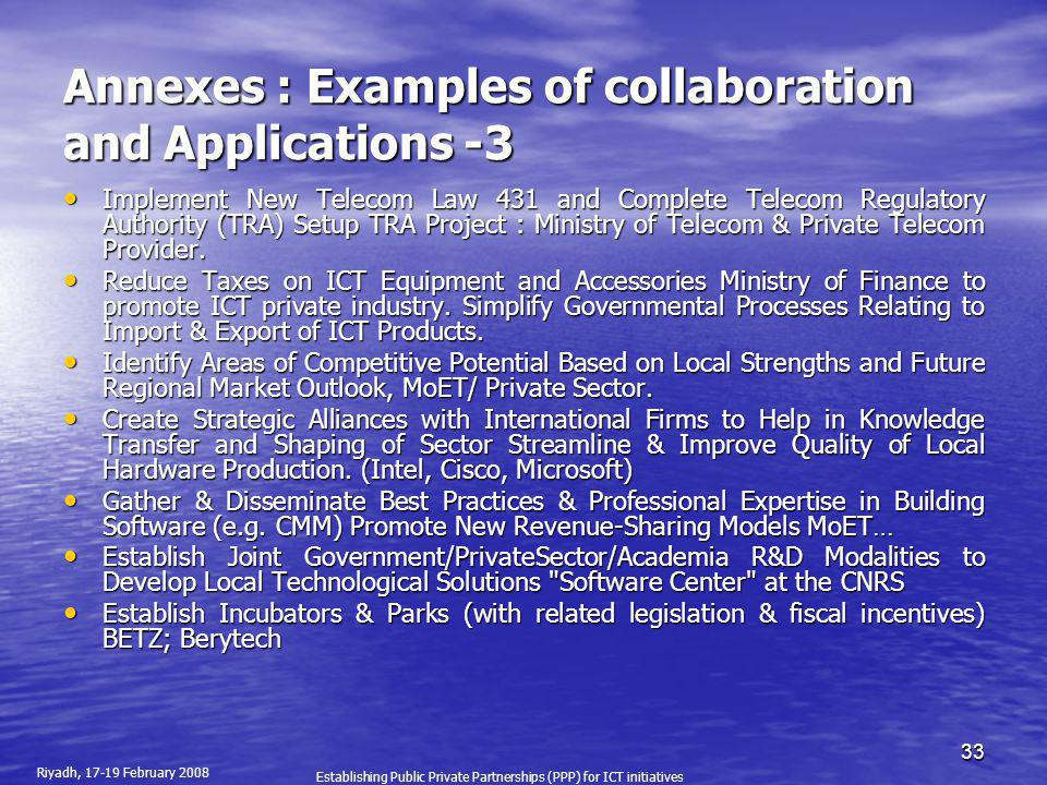 Annexes : Examples of collaboration and Applications -3