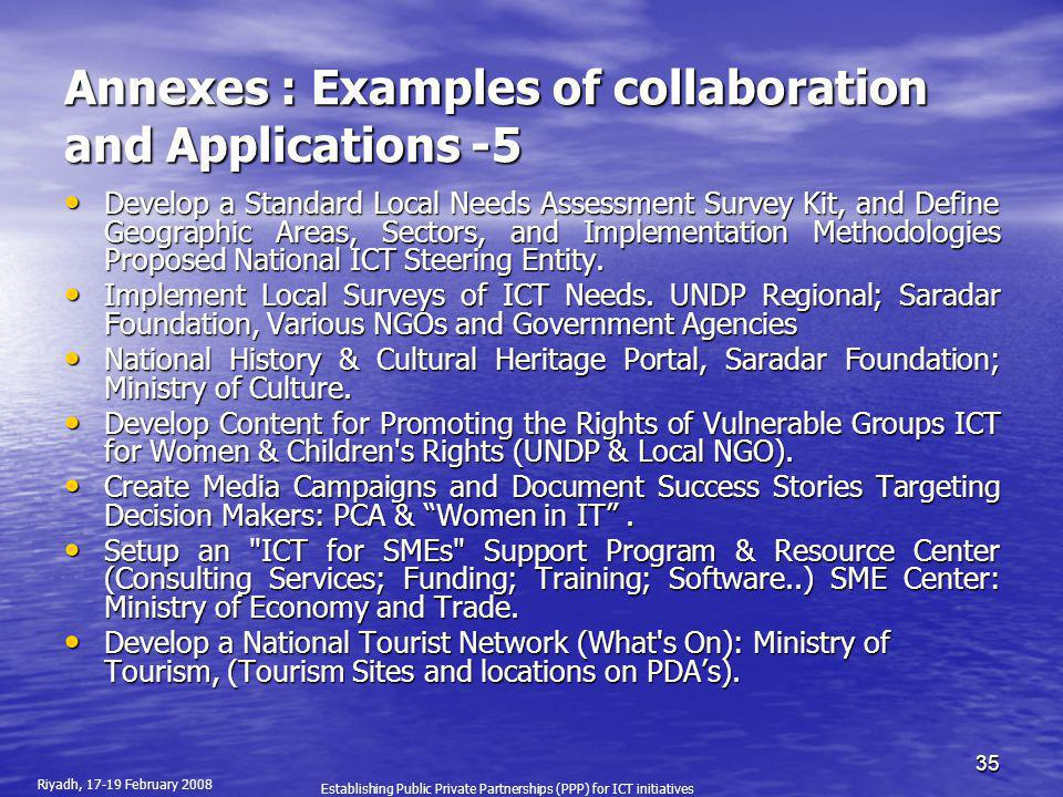 Annexes : Examples of collaboration and Applications -5