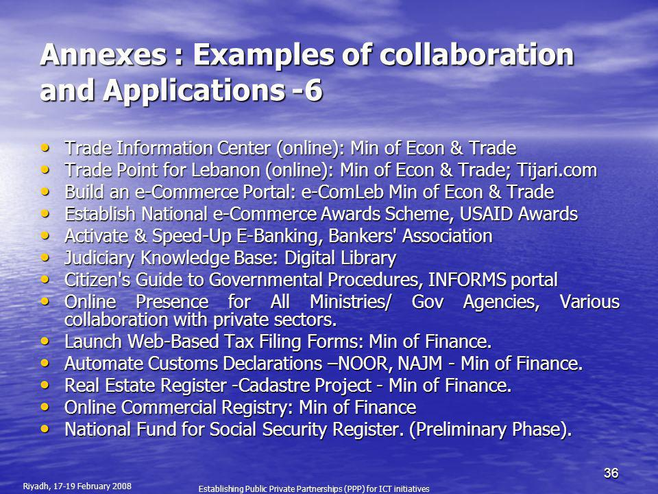 Annexes : Examples of collaboration and Applications -6