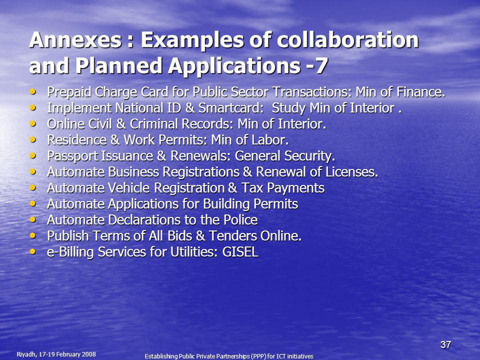 Annexes : Examples of collaboration and Planned Applications -7