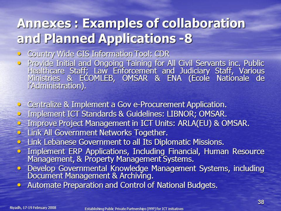 Annexes : Examples of collaboration and Planned Applications -8